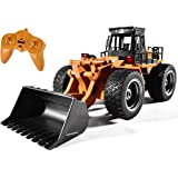 Remote Control Bulldozer Toy 1:16 Hobby RC Trucks Aluminum Alloy Construction Vehicles 4WD Front Loader for 8-15 Years Old Bo
