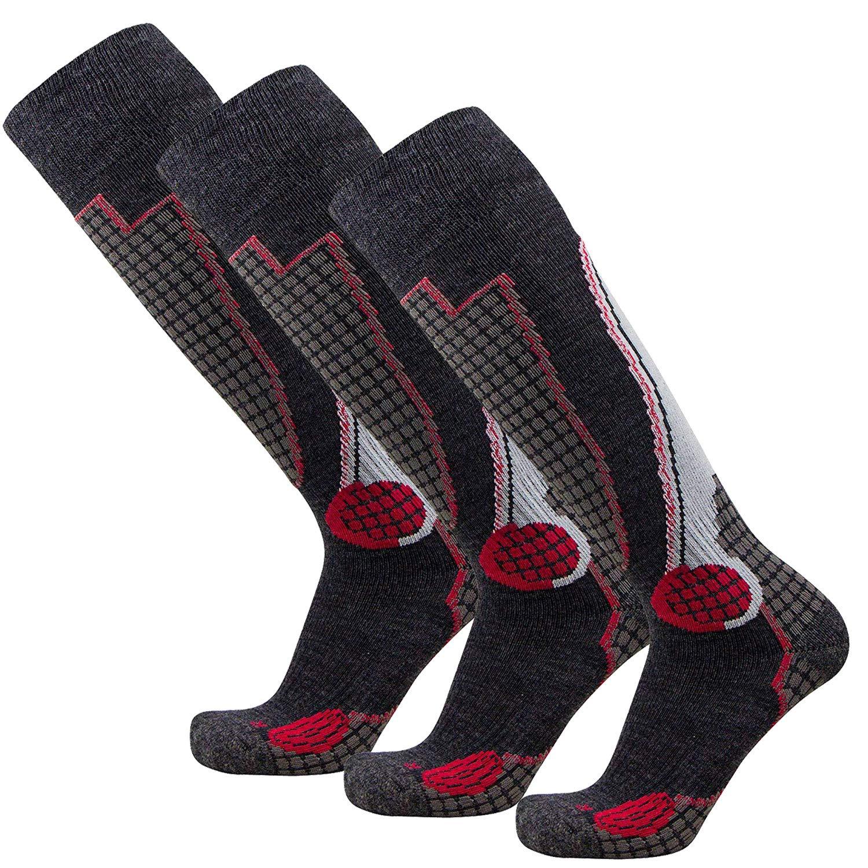 Black Grey Red  3 Pack Pure Athlete High Performance Wool Ski Socks  Outdoor Wool Skiing Socks, Snowboard Socks