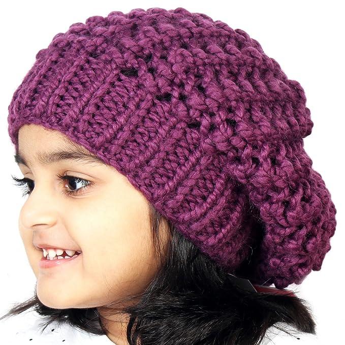 f936f0f8e9e Magic Needles Winter Woolen Cap (Handmade Girls Netted Slouchy Beanie -  Purple  Amazon.in  Clothing   Accessories