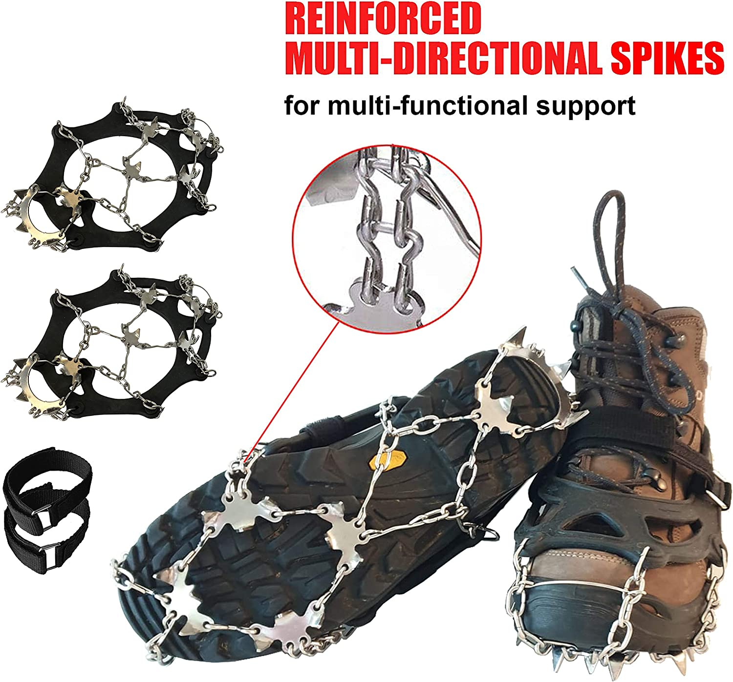 Limm Crampons Ice Traction Cleats - Shoe Grips on Bottom of Shoes Quickly & Easily Over Footwear for Snow and Ice - Portable Microspikes and Ice Cleats for Shoes and Boots