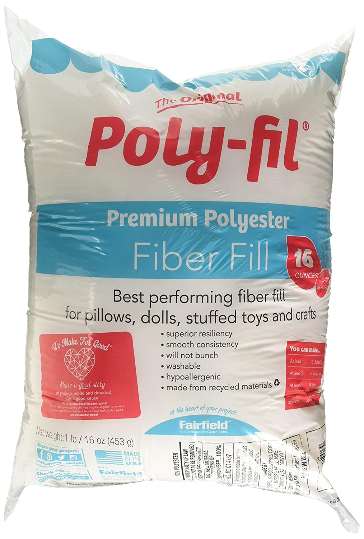 Fairfield PF16B Poly-Fil Premium Polyester Fiber, 16 Oz, White