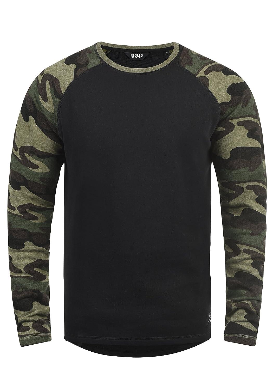 !Solid Cooper Herren Sweatshirt Pullover Pulli Baseball-Sweatshirt Mit Rundhals Und Camouflage-Ärmeln Aus 100% Baumwolle
