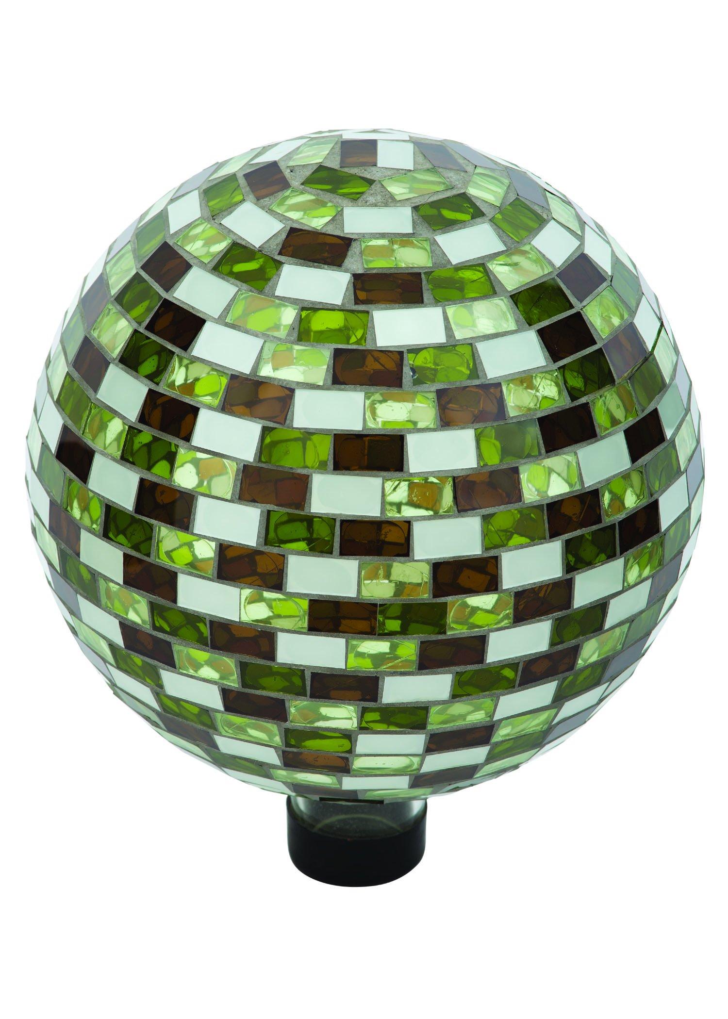 Russco III GD137173 Glass Gazing Ball, 10'', Mosaic Rectangle