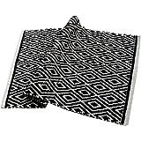 Chardin Home - 100% cotton Diamond Rug Fully reversible - Mat size 21''x34'', Machine washable, Black & White