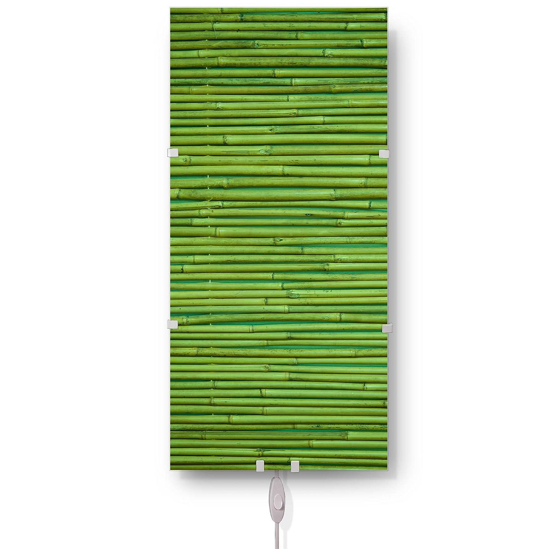 Banjado Glas Wandleuchte| Wandlampe 26cm x 56cm| Design LED Leuchte innen| Wandbeleuchtung mit Schalter| Leuchte mit Motiv Bambus Grün| Wandlampe mit 2x 6W LED Leuchtmittel