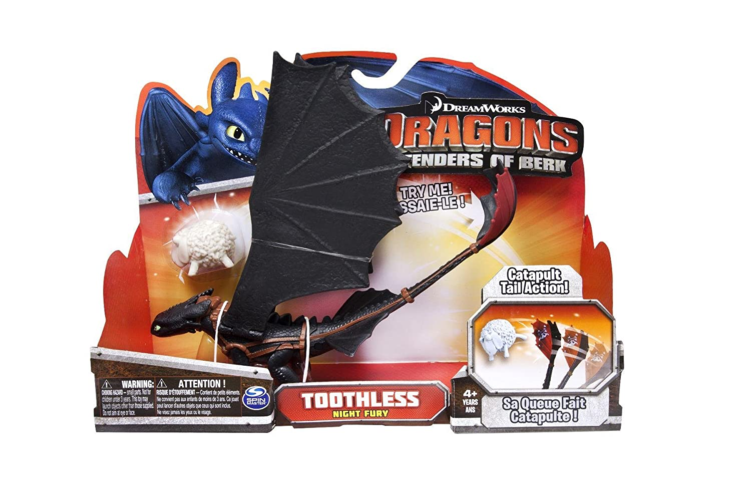 Toothless Night Fury Action Dragon Figure Catapult Tail DreamWorks Dragons Defenders of Berk