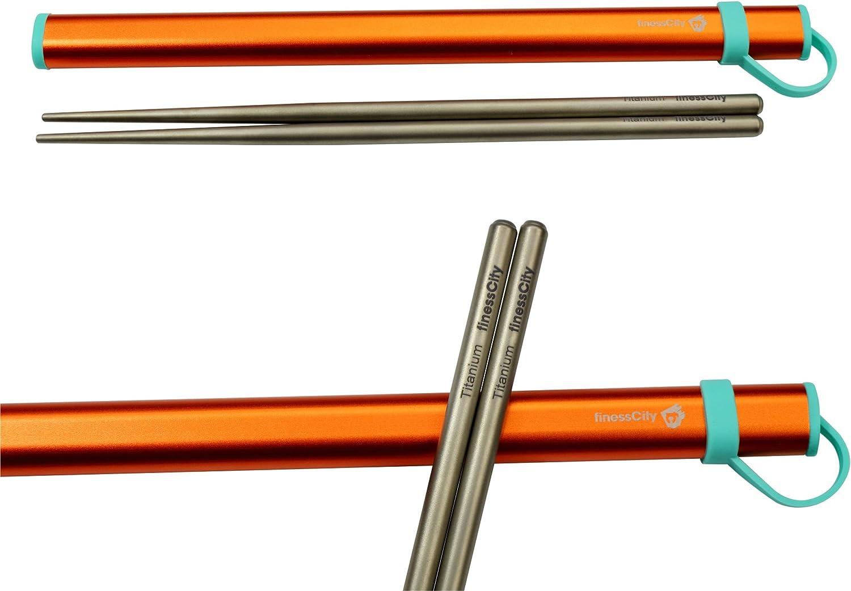 Naranja Ti palillos viene con caja de aluminio libre de calidad exclusiva Palillos de titanio extra fuertes Ultra ligero profesional