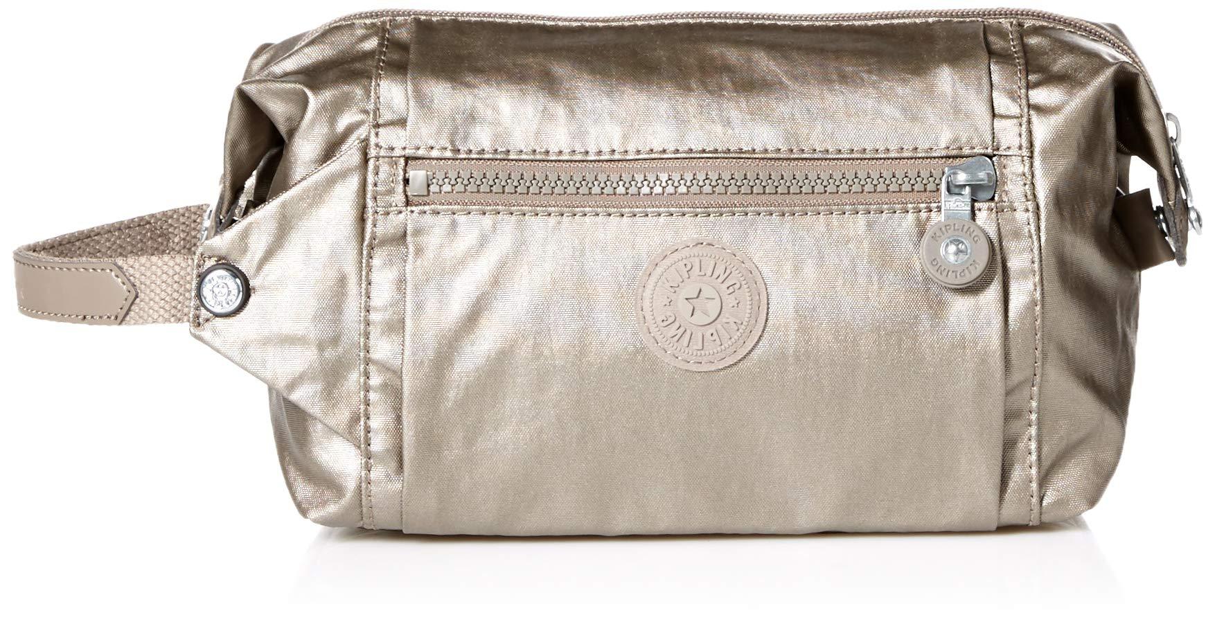 Kipling Women's Aiden Toiletry, Essential Travel Bag, Zip Closure, metallic pewter