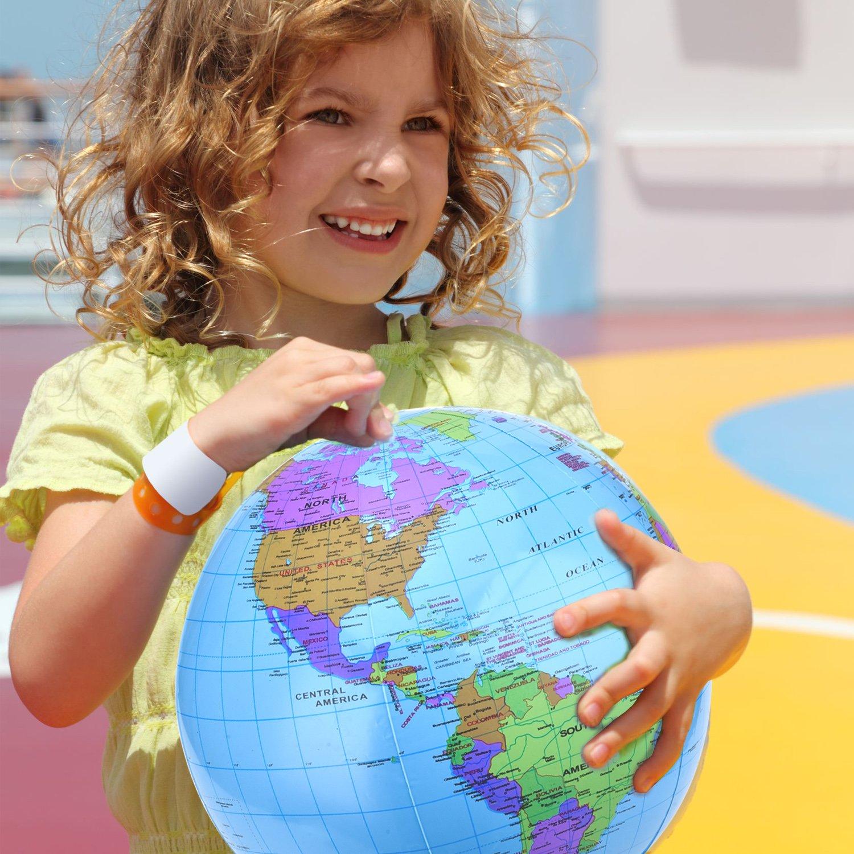 Pangda 16 Inch Inflatable Globe Inflatable World Globe Beach Ball Globe for Educational Beach Playing Colorful 2