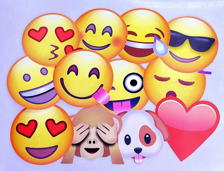 JZK 12 x Emoji Photo Booth Papel de Accesorios Fiesta apoyos Selfie en Palo para los niños y Adultos Fiesta Accesorio de Suministro para Boda Fiesta ...