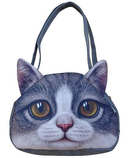 Cute Cat Face Zipper Tote Shoulder Bags