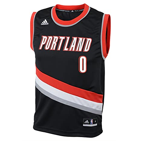 NBA Youth 8-20 Portland Trail Blazers Lillard Replica Road Jersey-Black-S