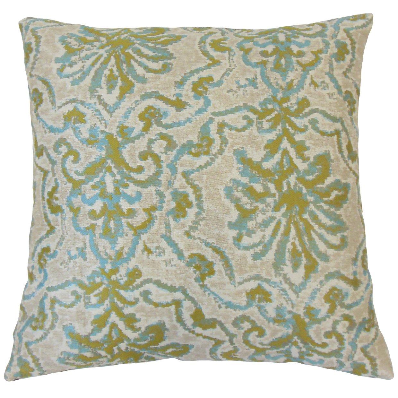 The Pillow Collection P18-D-ROBYN-CARIBBEAN-P100 Caribbean Uheri Damask Pillow