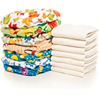 PLANET BABY Cloth Diapers - 18 All-in-Two Diaper Covers & 18 Bamboo 4 Layer Snap-in Inserts - One Size Reusable Washable Pocket Cover (Quantity 18 Nature)