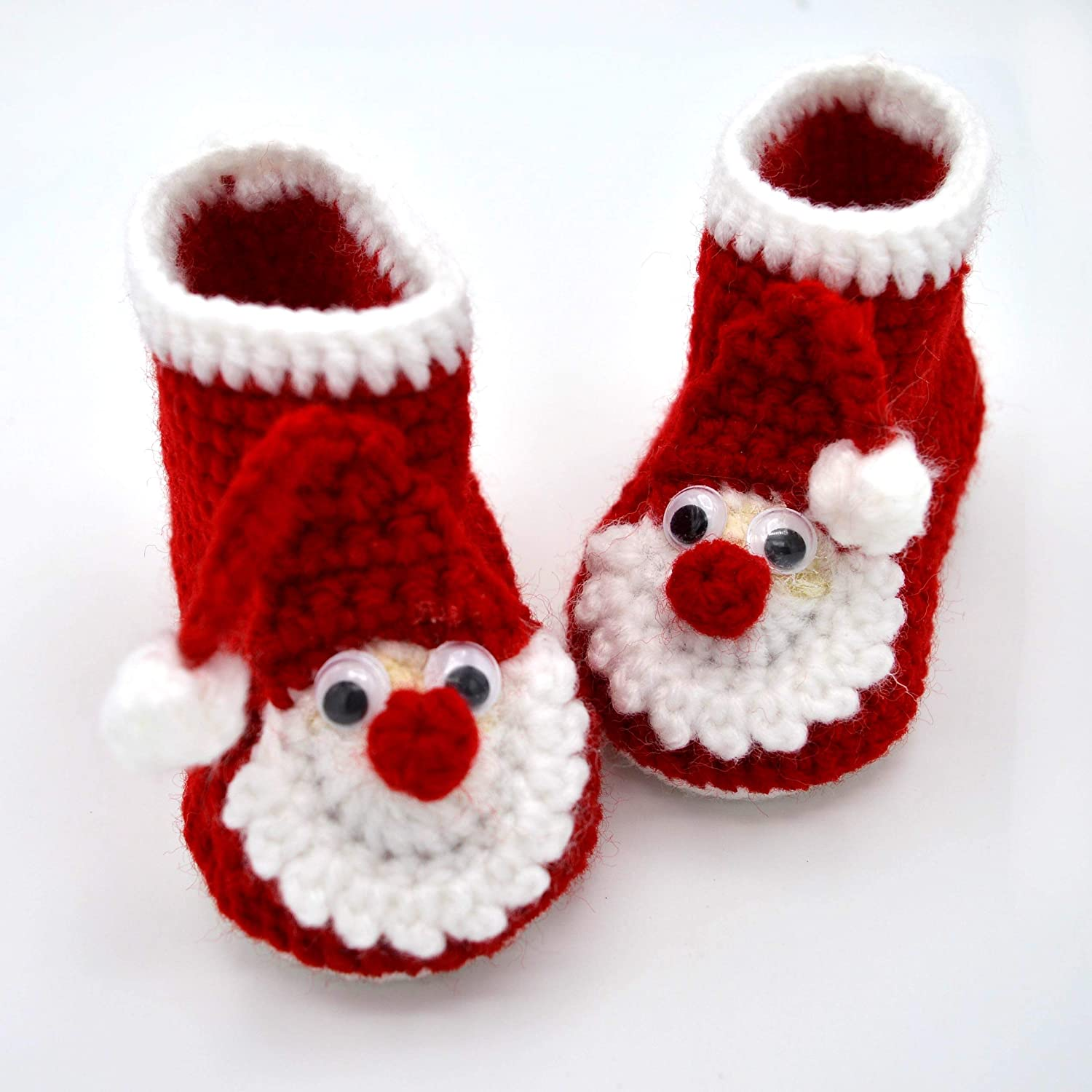 888e59a63b5eb Amazon.com: Christmas Booties, Red Baby Boots, Crib Shoes for Infant ...