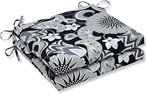 Pillow Perfect Outdoor/Indoor Sophia Graphite Square Corner Seat Cushions, 20 in. L X 20 in. W X 3 in. D, Black, 2 Count