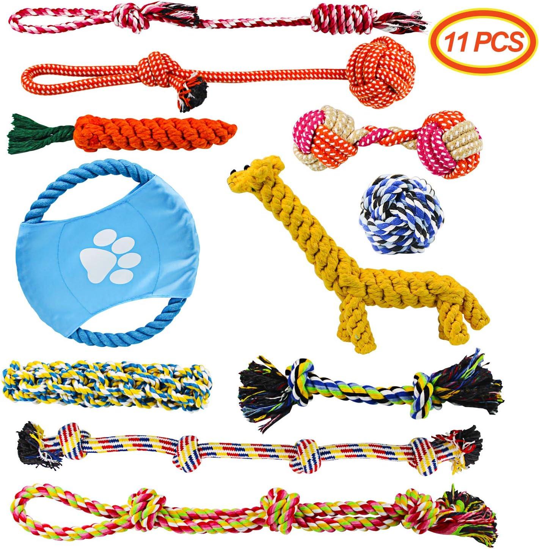 Docatgo Juguete para Perros, 11 Piezas Masticar Cuerda Juguete para Perros Juguetes Interactivos para Mantener a su Perro Sano