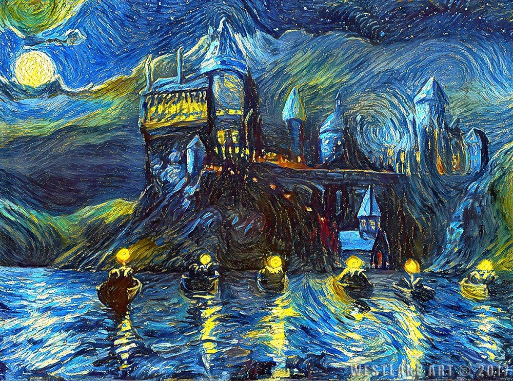 Starry Night Castle Night Boats 18 inch Art Print, Magical Merchandise, Van Gogh Starry Night, Fan, Birthday, Gift