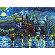 Westlake Art - Starry Night Castle Night Boats - 16x20 Poster Print Wall Art - Abstract Artwork Home Decor Office Birthday Unframed 16x20 inch (654EE)