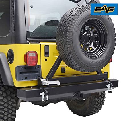 EAG 87 06 Jeep Wrangler TJ YJ Rear Bumper With Tire Carrier U0026 Hitch Receiver