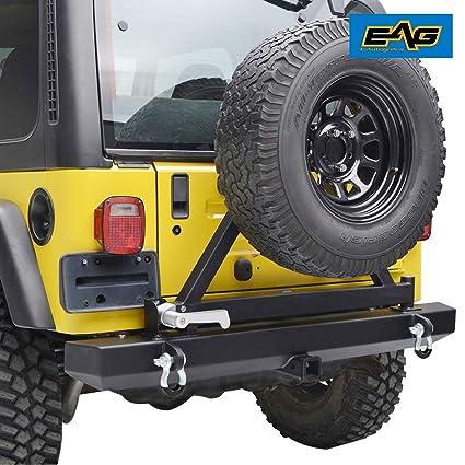 Elegant EAG 87 06 Jeep Wrangler TJ YJ Rear Bumper With Tire Carrier U0026 Hitch Receiver