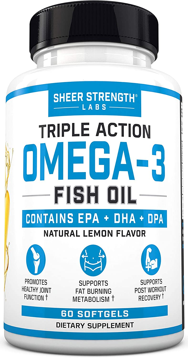 Fish Oil Omega 3 DHA Supplement - Triple Strength Fish Oil Burpless & Organic - Supports Joint Health & Post Workout Recovery - Lemon Flavored Supplements with Triglyceride, DPA, EPA - (60 Softgels)