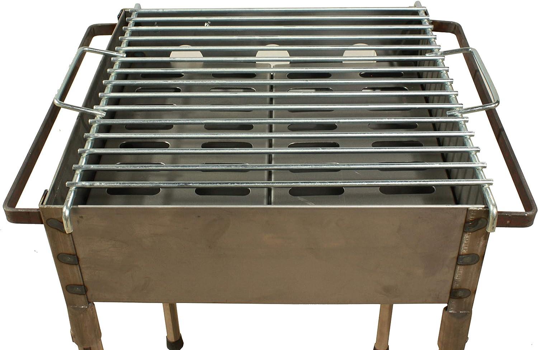Ideal para Asar Carne Barbacoa con Patas Desmontables y parilla Barbacoa peque/ña port/átil carb/ón Cuadrada 33x33 para Carb/ón y le/ña Pescado en el Exterior