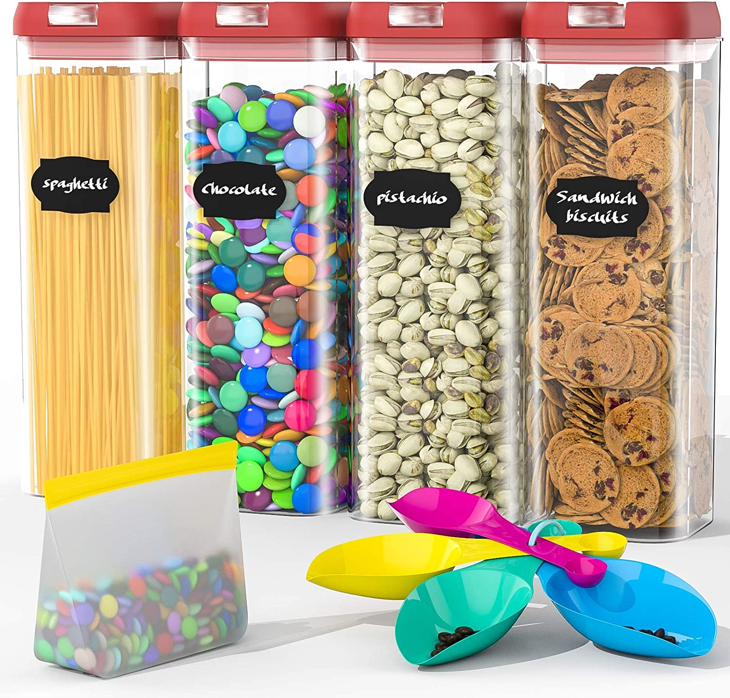 Airtight Food Storage Containers Set, BPA Free Plastic Cereal Containers Premium Kitchen Pantry Organization and Storage Container - Includes Spoon and a Small Food Storage Bag (4 Pieces)