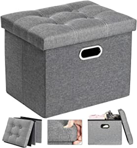 COSYLAND Ottoman with Storage for Room Folding Ottoman Foot Stool Footrest Seat Linen Fabric Ottoman Small Rectangle Collapsible Bench with Handles Lid Toy Chest Light Gray L17 x W13 x H13 inches