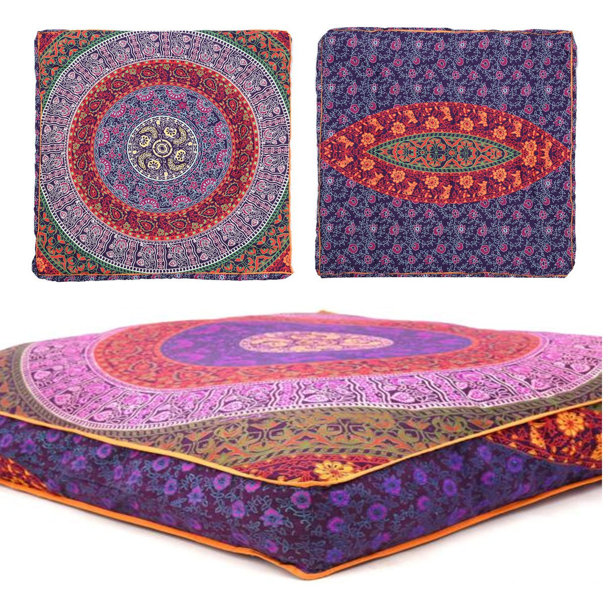 Third Eye Export - Indian Mandala Floor Pillow Square Ottoman Pouf Daybed Oversized Cushion Cover Cotton Seating Ottoman Poufs Dog/Pets Bed (Purple) by Third Eye Export