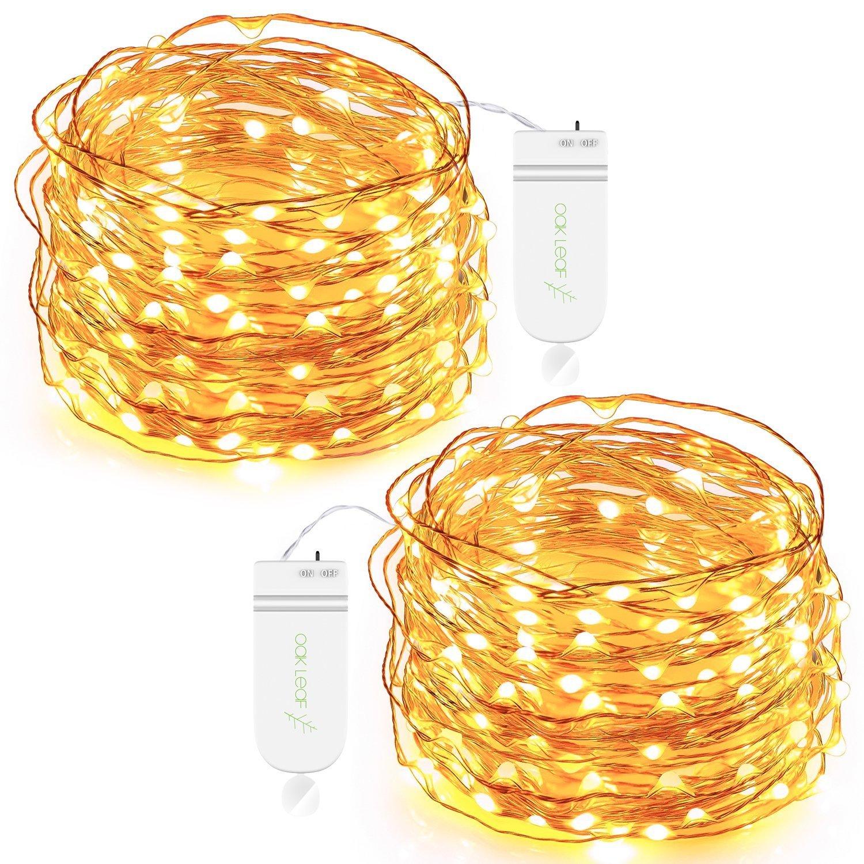 Oak Leaf 30 LED Fairy String Lights Battery Operated Warm White Set of 2