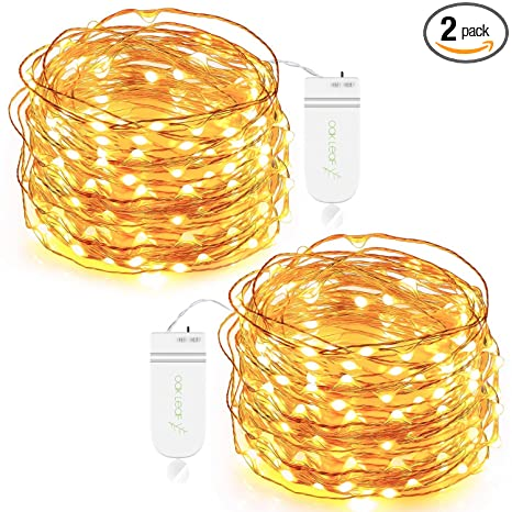 Oak Leaf 30-LED Fairy String Lights, Battery Operated, Warm White,Set of 2