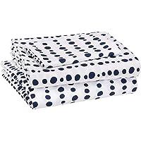 AmazonBasics Juego de sábanas, microfibra suave y fácil de lavar, infantil, individual, rayas azules punteadas