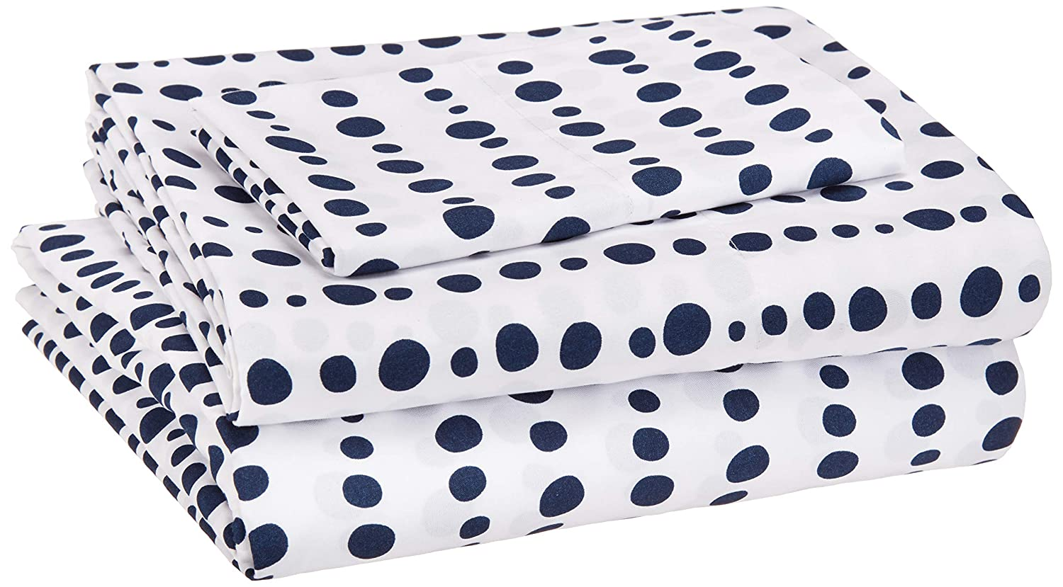 AmazonBasics Kid's Sheet Set - Soft, Easy-Wash Microfiber - Twin, Blue Dotted Stripes