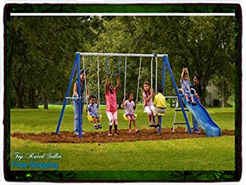 Playground Metal Swing Set Swingset Outdoor Play Slide Kids Playset Backyard  NEW Swing Set Swingset Kids