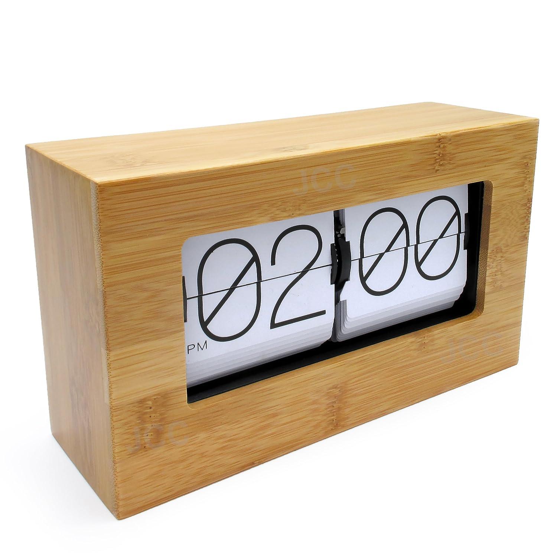 jcc modern stylish bamboo large number retro auto flip down desk wall clock battery operated brick desk wall clock