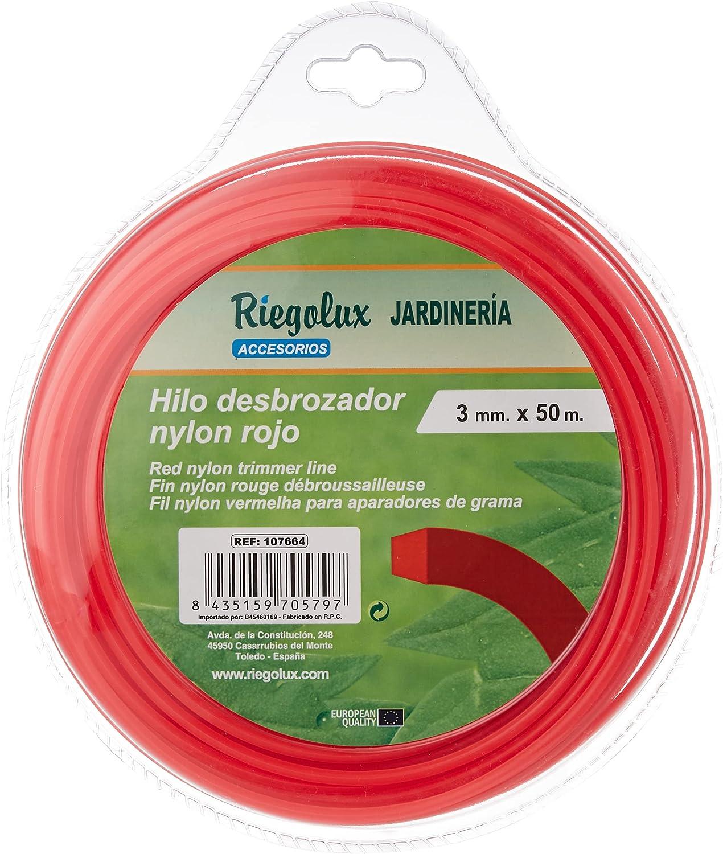 Riegolux 107664 Hilo Desbrozadora Nylon Cuadrada, Rojo, 3 mm x 50 m