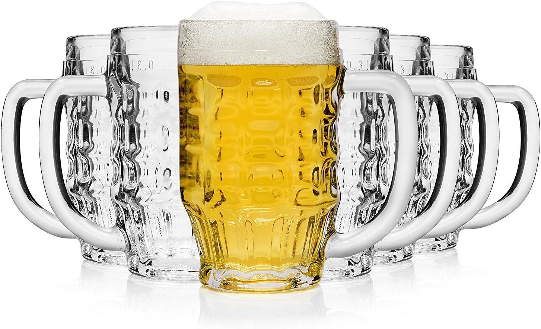 Bormioli Rocco Malles Taza de Cerveza 370ml, con la Marca de Llenado a los 300ml, 6 Vidrio