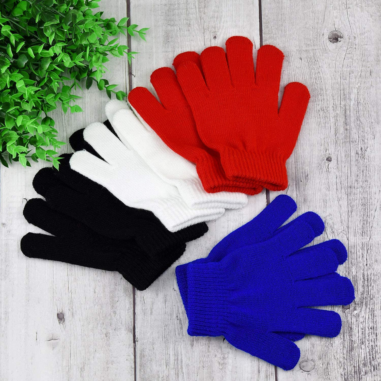 4 Colors MENOLY 4 Pairs Winter Kids Gloves Kids Knit Gloves Warm Stretchy Knitted Magic Gloves Full Fingers Gloves for Little Girls Boys Teens