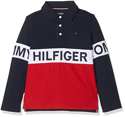 4da44bfe Tommy Hilfiger Boy's AME Cut and Sew Rugby L/S Shirt: Amazon.co.uk: Clothing