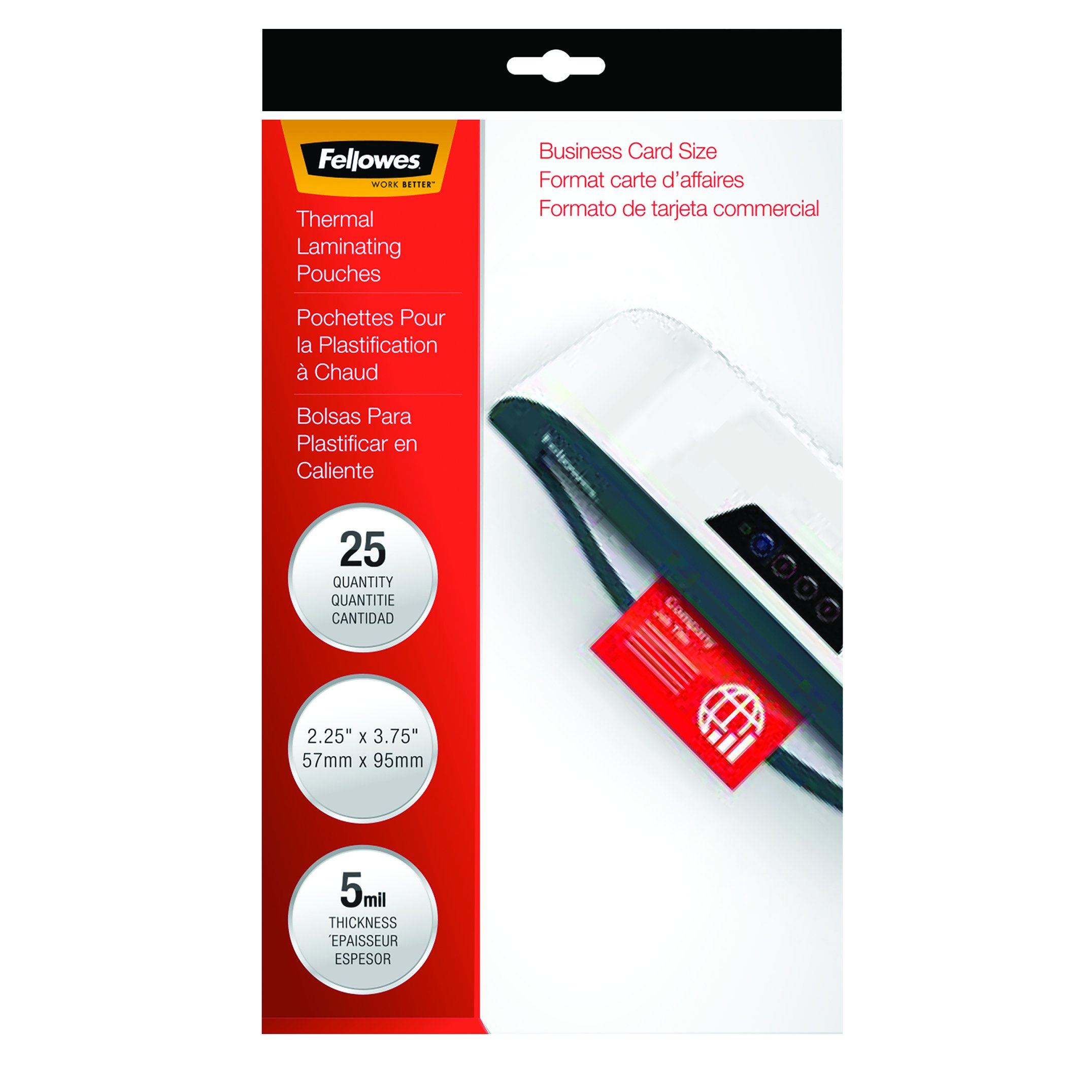Fellowes Hot Laminating Pouches, Business Card Size, 5 mil, 25 Pack (52001)