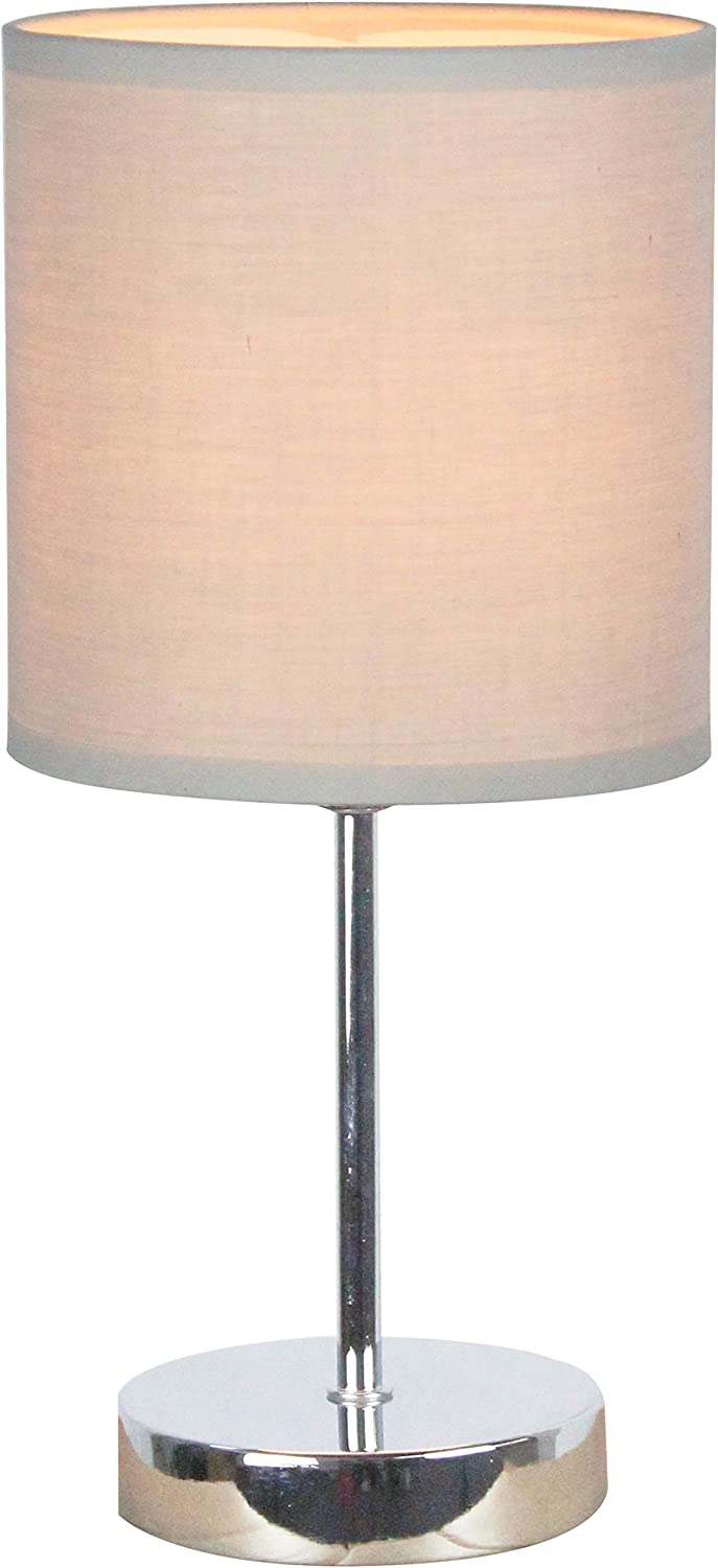 Simple Designs LT2007-GRY Chrome Mini Basic Table Lamp with Fabric Shade, 11.89 x 5.51 x 5.51, Gray - -