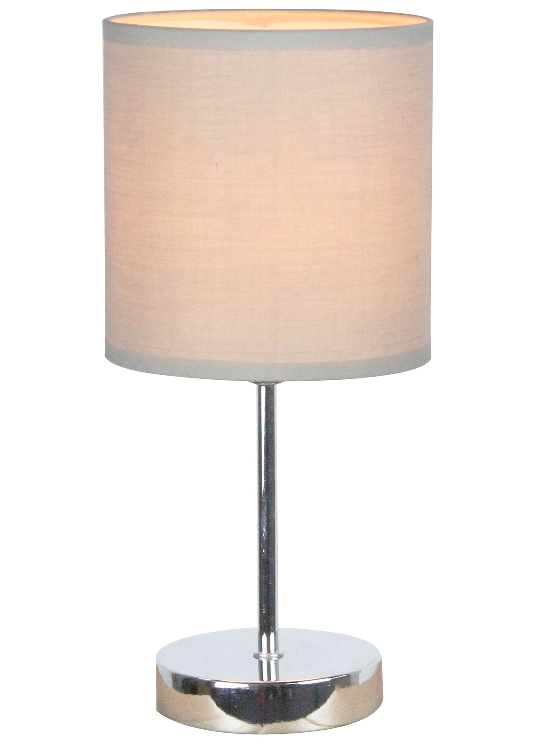 Simple Designs Home LT2007-GRY Simple Designs Chrome Mini Basic Table Lamp with Fabric Shade 11.89 x 5.51 x 5.51 Grey