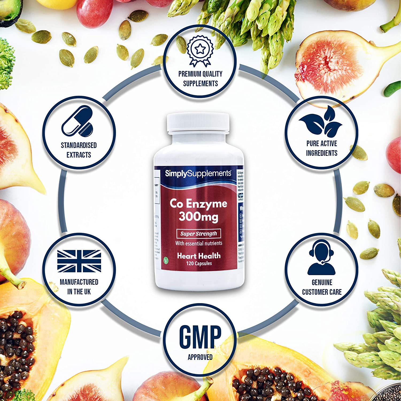 Coenzima Q10 300mg - ¡Bote para 4 meses! – Apto para veganos – 120 cápsulas – SimplySupplements