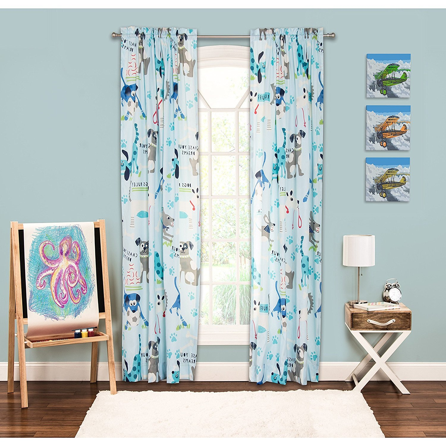 D-UNKN 1pc Girls Puppies Paw Prints Sky Blue Grey White Window Curtain, Gray Blue Colour Kids Themed Teen Graphic Novelty Polyester Pretty Adorable Rod Pocket, 84 Animal Pattern Single Panel