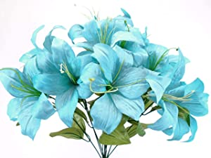 Phoenix Silk Blue Turquoise Tiger Lily Bush Satin Artificial Flowers 19