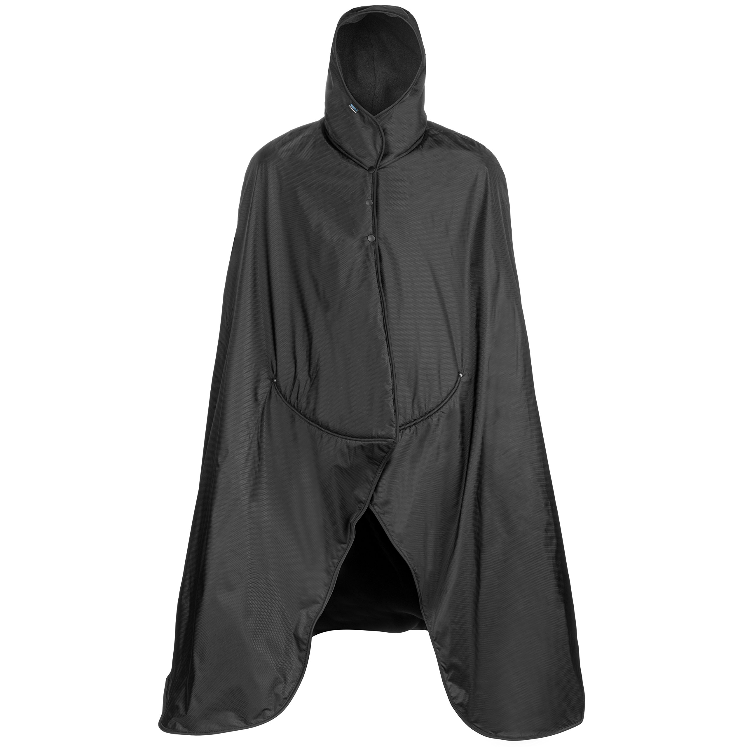Mambe Extreme Weather 100% Waterproof/Windproof Hooded Blanket with Premium Stuff Sack (Size: XL, Black-Black) Made in The USA by Mambe