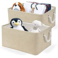 Foldable Linen Storage Basket 2 Pack Boxes with Handles Bins in Organizers for Blanket Organizer with Handles for Living…