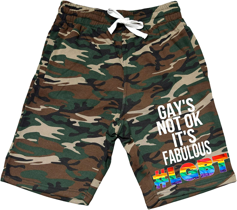 Mens Rainbow LGBT Gay is Fabulous V213 Camo Fleece Jogger Sweatpant Gym Shorts