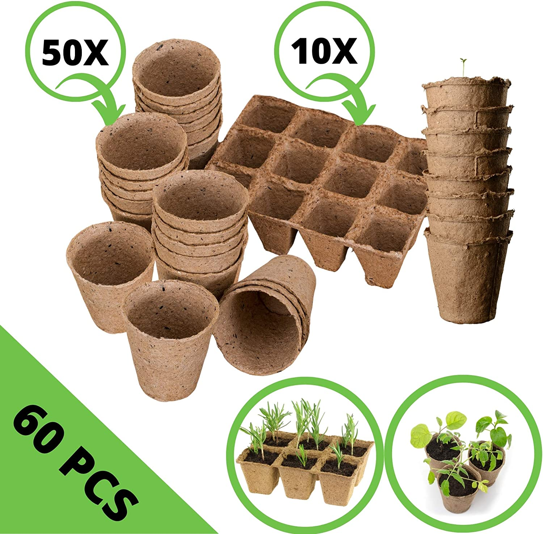 Flower 55042 18 Unidades Semillas Batlle Ecol/ógicas Arom/áticas Albahaca Gigante Genovese Eco Semilleros Biodegradables Redondos